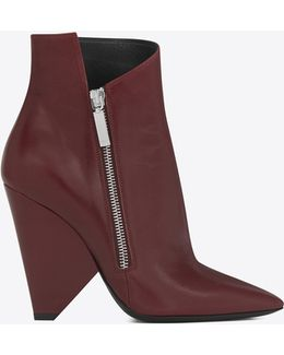 Niki 105 Asymmetrical Ankle Boot In Light Burgundy Leather