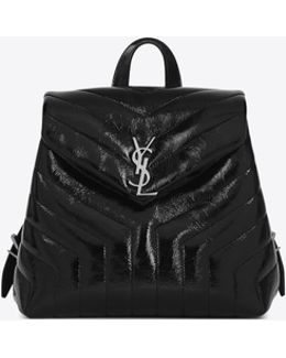 """Small Loulou Backpack In Black """"y"""" Matelassé Leather"""