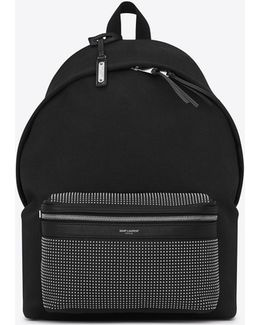 City Studded Backpack In Black Twill And Leather