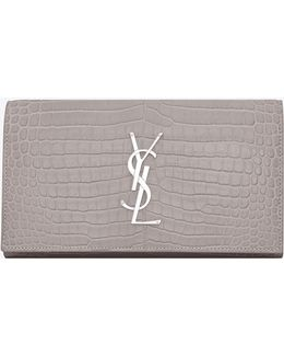 Large Monogram Wallet With Flap In Mouse-gray Crocodile Embossed Shiny Leather