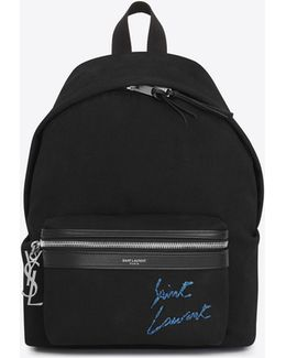 Mini City Embroidered Backpack In Black And Blue Diagonal Canvas