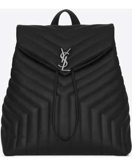 "Medium Loulou Monogram Backpack In Black ""y"" Matelassé Leather"