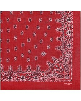 Bandana Square Scarf In Red And White Paisley Printed Cashmere And Silk Étamine