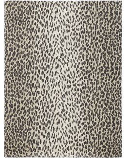 Classic Stole In Wool And Silk With Orginal Beige And Black Babycat Print