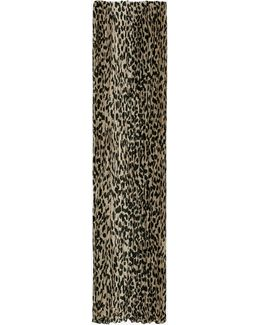 Signature Pleated Scarf In Beige And Black Babycat Printed Wool And Silk Crêpe