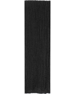 Pleated Scarf In Black And White Polka Dot Printed Silk Crêpe