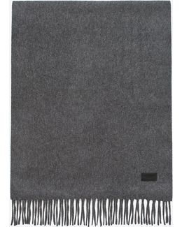 Knit Fringed Scarf In Grey Cashmere