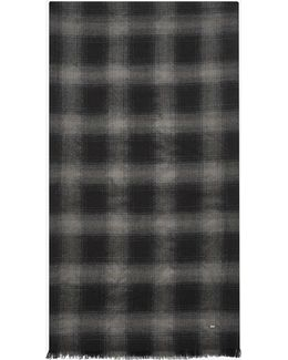 Signature Pleated Scarf In Black And Grey Plaid Wool, Cashmere And Silk Flannel Jacquard