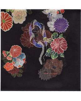 Love Large Square Scarf In Black And Multicolor Floral Print