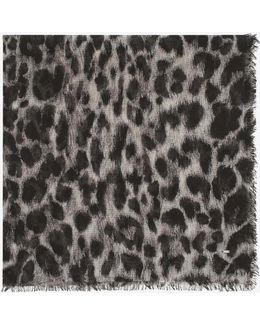 Animalier Large Square Scarf In Grey And Black Grand Leopard Print