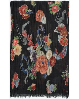 Love Scarf In Multicolor Floral And Serpent Print