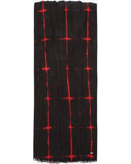 Signature Pleated Scarf Black And Red Tie Dye Plaid