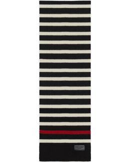 Marin Scarf In Black And White Knit Wool