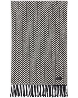Scarf In Ivory And Black Chevron Knit Wool And Cashmere