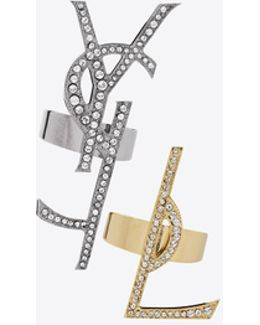 Monogram Set Of Deconstructed Rings In Gunmetal, Gold Brass And Clear Crystal