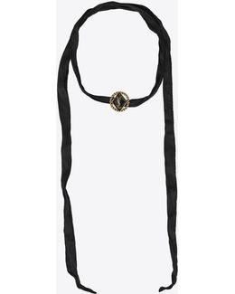 Army Braided Choker In Gold Tin And Brass And Black Enamel And Silk