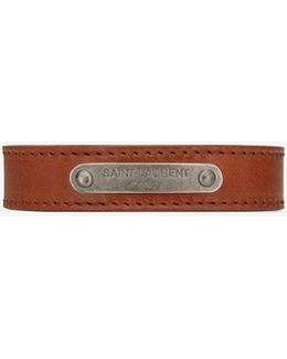 Id Bracelet In Brown Leather And Brushed Silver-toned Metal