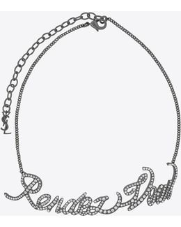 """rendez-vous"" Chain Choker In Silver-toned Brass And Crystals"