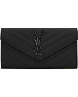 Large Monogram Flap Wallet In Black Grain De Poudre Textured Matelassé Leather