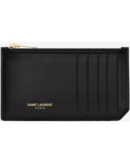 Classic Paris 5 Fragments Zip Pouch In Black Leather