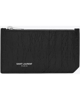 Classic Paris 5 Fragments Zip Pouch In Black Crocodile Embossed Leather
