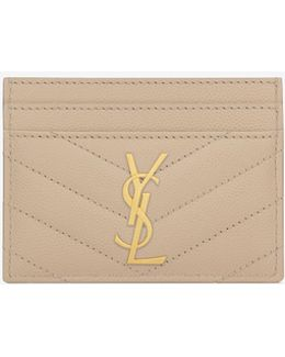Monogram Credit Card Case In Pale Pink Grain De Poudre Textured Matelassé Leather