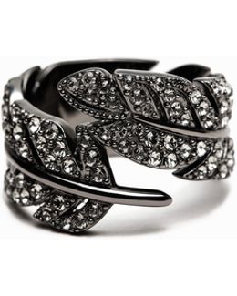 Strass Feather Ring