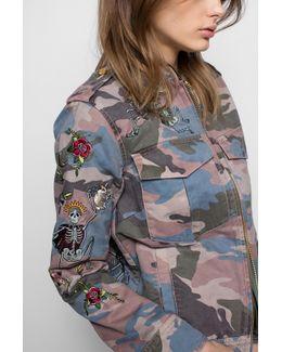 Kavy Embroidered Camo Jacket