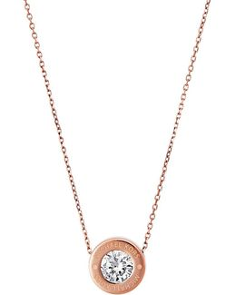 Brilliance Logo Pendant Necklace/goldtone