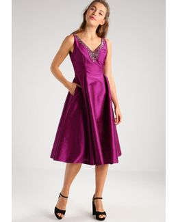 Beaded V-neck Fit-and-flare Midi Taffeta Dress
