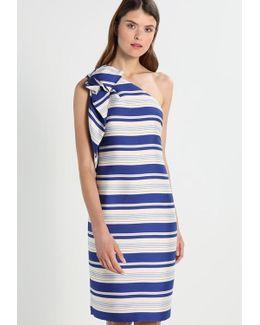 One Shoulder Bow Stripe Cocktail Dress / Party Dress