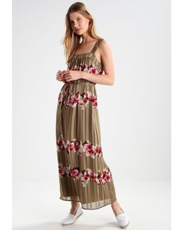 Lucia Floral Stripe Apron Maxi Dress