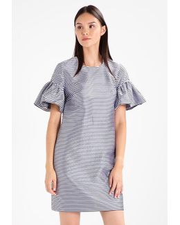 Ruffle Sleeve Shift Stripe Summer Dress