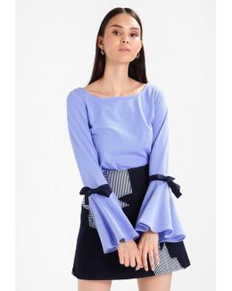 Bow Bell Sleeve Stripe Long Sleeved Top