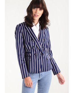 Vertical Striped Cutaway Blazer