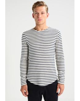 Stripe Terry Crew Long Sleeved Top