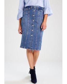 Seamed Pencil Denim Skirt