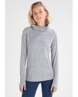 Stripe Mock Neck Sports Shirt