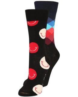 Smile Faded Diamond 2 Pack Socks