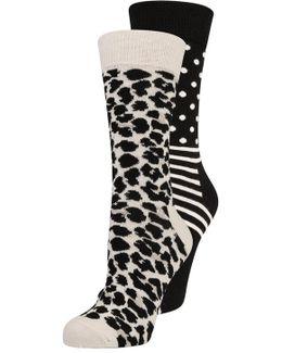 Zoo Stripes & Dots 2 Pack Socks