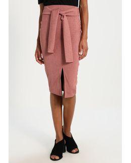 Obi Belt Bonded Pencil Skirt