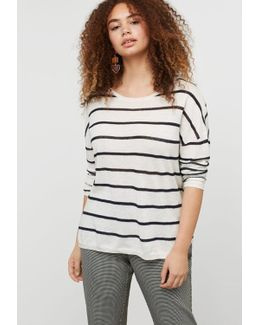 Striped Cotton Linen-blend Sweater