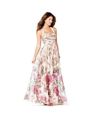 Adrianna Papell Sleeveless Pleated Floral Printed Halter ...