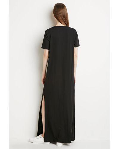 Forever 21 Cotton Side-slit T-shirt Maxi Dress in Black - Lyst