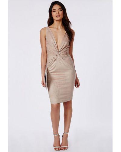 Nabilla x Missguided Nude Ribbed Sleeveless Bodycon Dress
