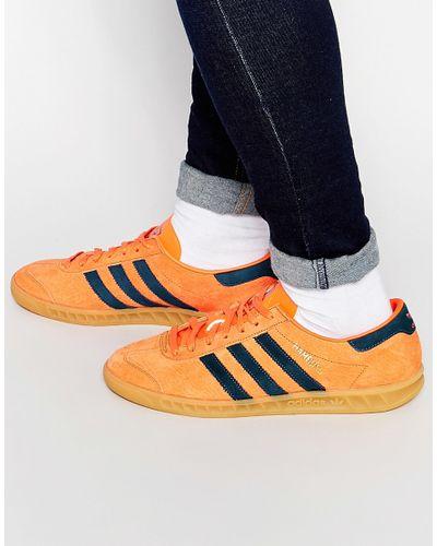 adidas Originals Hamburg Trainers S74837 in Orange for Men - Lyst