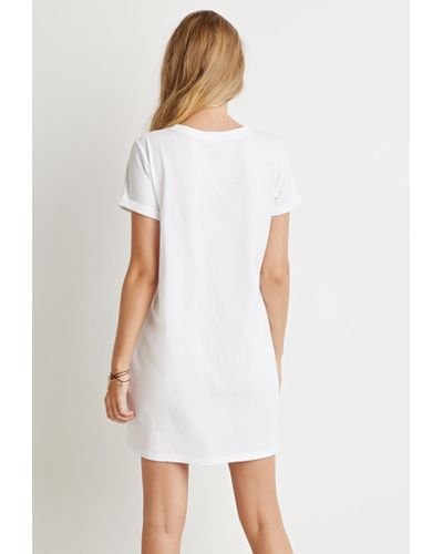 Forever 21 Cotton T-shirt Dress in White - Lyst