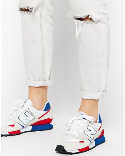 New Balance 446 White & Red Suede Mix Sneakers in Blue - Lyst