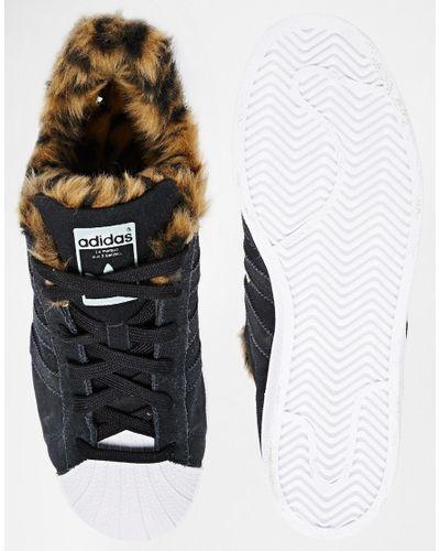 adidas Originals Superstar Faux Animal Fur Trainers in Black - Lyst