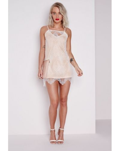 Missguided Nude Lace Trim Triangle Cup Detail Bodysuit - Lyst